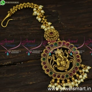 Divine Lord Ganesha Maang Tikka With Pearls Nethichutti For Wedding Online T24196