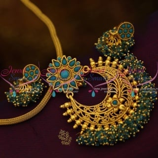 Colour Beads Dollar Chain Designs Antique Gold Plated With Jhumka EarringsPS9005A