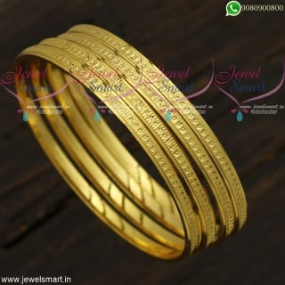 Dotted Design Gold Covering Bangles For Daily Wear Imitation Jewellery Online B21831