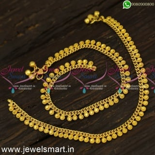 Dotted Jelebi Arumbu Anklet Designs Gold Plated Daily Wear Golusu P24161