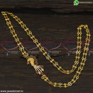Multi Colour South Indian Artificial Jewelry Peacock AD Double Chain Mugappu Online