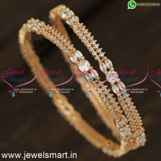 Double Layer Stones Rose Gold and Silver Diamond Bangle Designs OnlineB24236