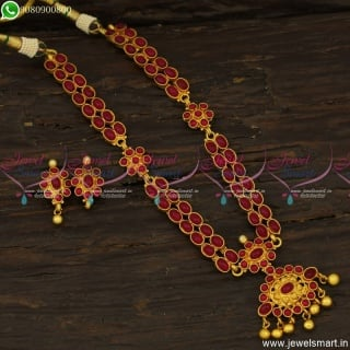 Double Line Kemp Necklace Set With Mugappu Traditional Jewellery Designs Online NL23773
