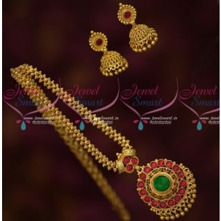 Elegant Gold Chain Designs For Ladies With Kemp Pendant and Jhumkas PS15116A