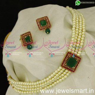 Elegant and Simple Pearl Choker Designs For Sarees Trending Fashion Jewellery NL24048