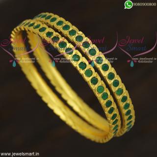 Eye Shape Cut Emerald Green Stones Gold Design Bangles Imitation Jewellery OnlineB21863