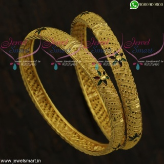 Enamel Bangles In Gold Design Artificial Jewellery Collections Low Price Online B21819