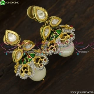 Enamel Effect Kundan Jhumka Earrings CZ Fusion Jewellery Diamond Designs J23751