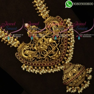Enchanting Shiv Darbar Long Necklace Graceful Pearl Temple Jewellery Haram OnlineNL20358A