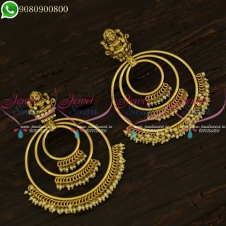 Popular Enjoy Enjaami Dhee Fame Temple Chandbali Earrings Latest Jewellery ER21130