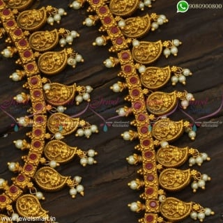 Exceptional Guttapusalu Haram Combo Set Incredible Workmanship In Imitation Jewellery NL22976