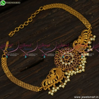 Exquisite Bridal Jewellery Chain Bajuband Vanki Gold Design Antique V23797