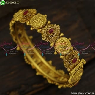 Exotic Gold Bangles Design Antique Temple Jewellery Kasu Valayal Online B23828