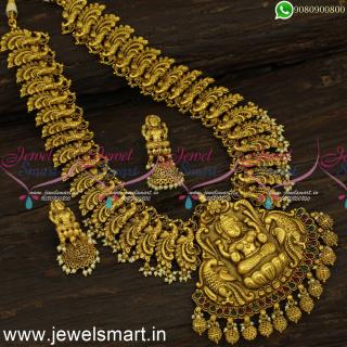 Extravagant Antique Gold Long Necklace Designs Divine Heavy Temple Jewellery Models NL24338