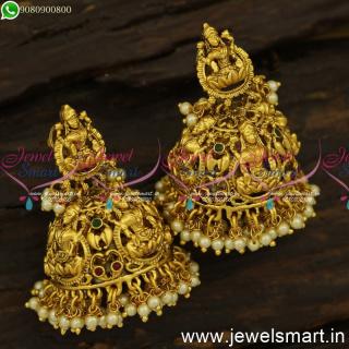Eye-Catching Bridal Jhumka Earrings Esteemed Indian Temple JewelleryJ24543