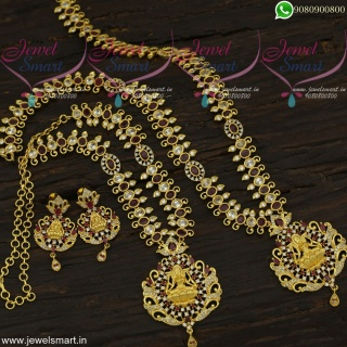 Eye-Catching Wedding Jewellery Online Temple Long Gold Necklace Combo