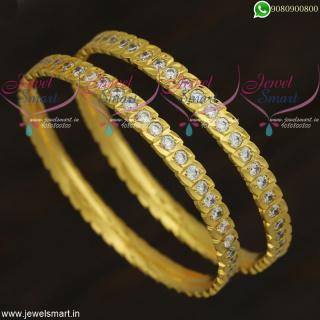Eye Shape AD White StoneGold Bangles DesignImitation Jewellery OnlineB21862