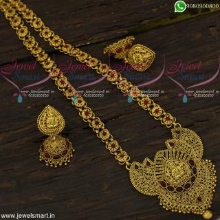 Fabulous Antique Long Necklace Temple Gold Haram Designer Collections NL22143