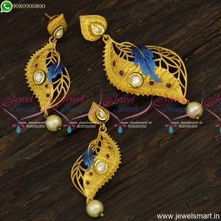 Fabulous Designer Jewellery Unique Pendant Set Kundan Handpainting Online Shopping PS23916
