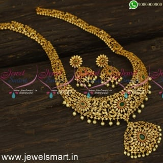 Fanciful Broad Gold Haram Designs Matte Look Familiar Jewellery CatalogueNL24549
