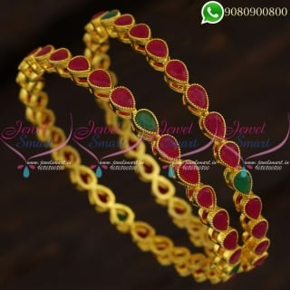Gold Plated Fancy Bangles Online Shopping Indian Jewellery Ruby Emerald B21258