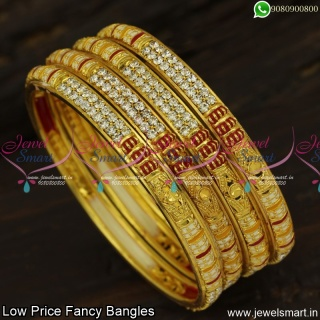 Fancy Bangles Set of 4 Low Price Enamel and Synthetic Stones Online B23889