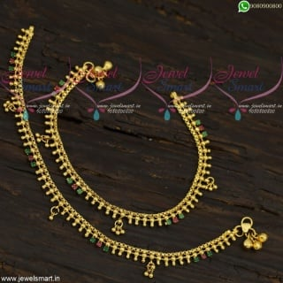 Fancy Beads Stone Golusu Anklets Online Gold Covering South Indian Designs A21725