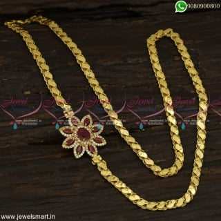 Fancy CZ Stones Mugappu Chains Gold Designs South Indian Covering Jewellery C23354