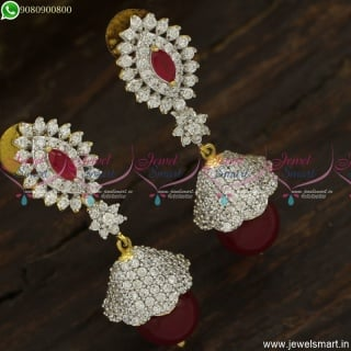 Fancy Diamond Jewellery Matching Jhumka Earrings Dual Tone Imitation Online J23756