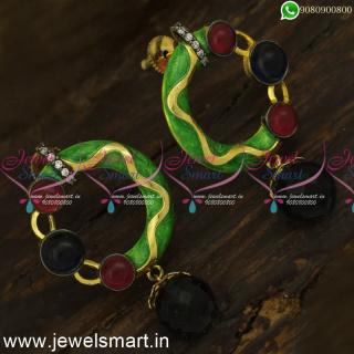 ER24391 Fancy Earrings for Women Online Double Design Green Enamel Artificial Jewellery