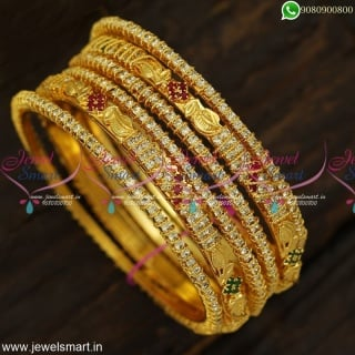 Fancy Gold Plated Stone Bangles Kal Valayal Set of 6 Jewellery For Marriage Online