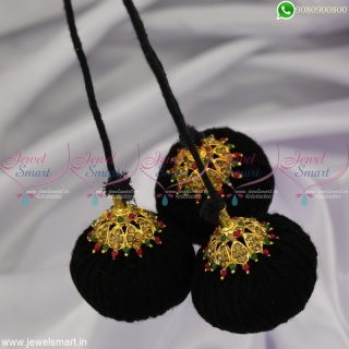 Fancy Golden Jada Kuppulu Low Price Traditional Accessories for Hair Round Caps H23034