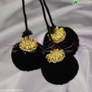 Black Thread Fancy Golden Kuppulu Traditional Accessories for Hair Round Jada Kunjalam