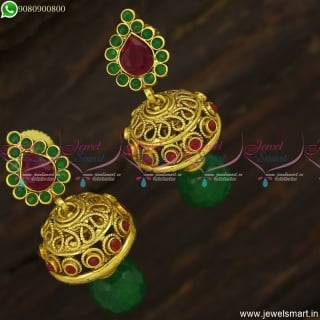 Fancy Jimikki Kamal Antique Gold Plated Colour Stones Small Size Designs J23745