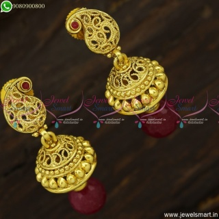 Fancy Jimikki Kammal Designs Antique Gold Plated Fashion Jewellery Online J23737