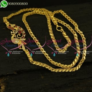 Fancy Model Mugappu Chain South Indian Gold Plated Daily Wear Jewellery Online C20936