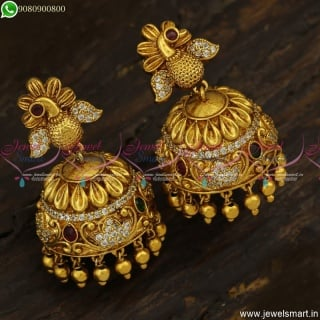 Fancy Peacock Jhumkas Online Latest Antique Jewellery With CZ Stones Online J23484