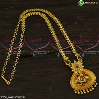 Fancy Pendant One Gram Gold Design Chain Marquise AD Stones Daily Wear JewelleryCS22505