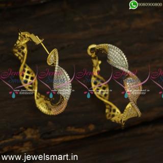Fancy Ribbon CZ Designer Bali Earrings Latest In Imitation Jewellery OnlineER24468