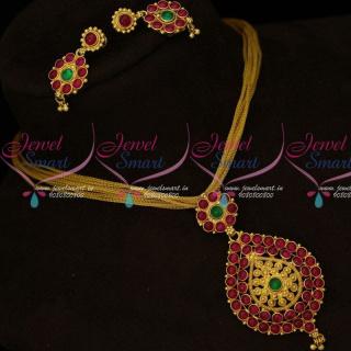 Fancy Rope Chain Pendant Original Kemp Stones Indian Imitation Jewellery