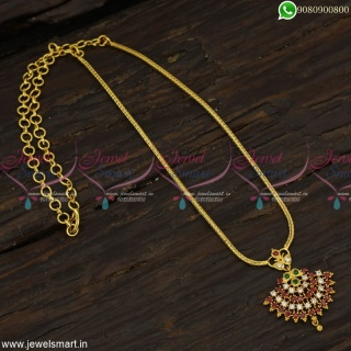 Fancy Stone Attigai South Indian Chain With Pendant Gold Plated JewelleryNL23125