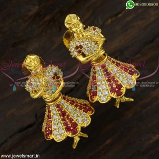 Fantasy Jewelry Dancing Doll Butta Bomma Earrings CZ Jhumkas Online J22576