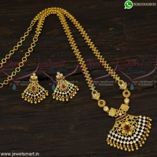 Fascinating Gold Dollar Chain for Ladies with Stud Earrings Wholesale PricesPS22505