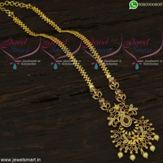 New Ideas In Long Gold Necklace Mayil Design Chain Pendant Online NL21957