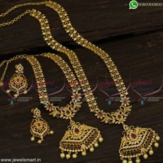 Fascinating Stone Gold Haram Designs With Necklace Combo Covering Set Online