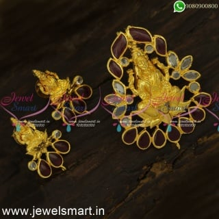 PS24389 Fascinating Temple Jewellery Designs Artificial Gold Dollar With Earrings for Women