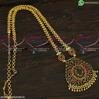 Fashionable Gajri Chain Pendant One Gram Gold Jewellery AD Stones OnlinePS22371