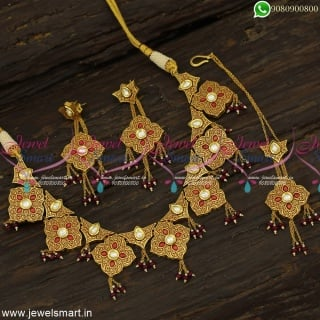 Fashionable Kundan Jewellery Set For Wedding Latest Gold Necklace Designs Online NL23883