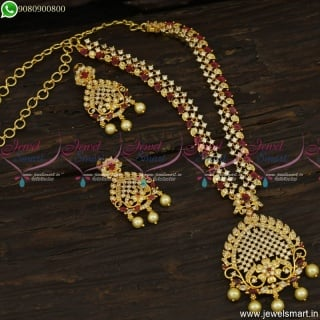 Fashionable Necklace Set Dazzling AD Stones Gold Plated Jewellery Designs NL23644
