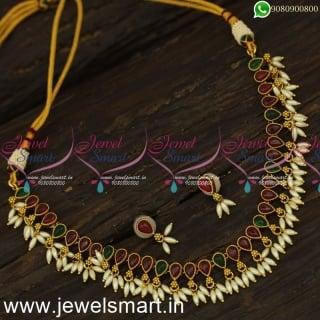 Fashionable Single Stone Line Antique Gold Necklace Designs Ideas With Rice Pearls NL24026